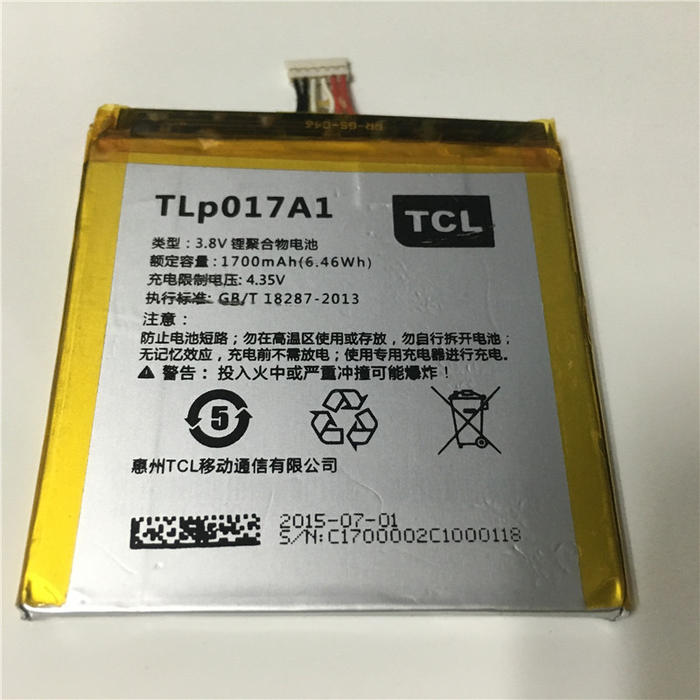 Batería Alcatel TLP017A1 3.8v 1700mAh 6.46wH, One Touch Idol Mini OT6012